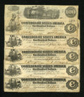 Confederate Notes:1862 Issues, T40 $100 1862 Five Examples... ... (Total: 5 notes)
