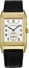Timepieces:Wristwatch, Jaeger LeCoultre, Gold Day/Night Reverso Wristwatch, circa 1990's. ...