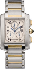 Timepieces:Wristwatch, Cartier Tank Francaise Two Tone Chrono, circa 1990's. ...