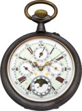 Timepieces:Pocket (pre 1900), Swiss Fancy Dial Oversize Moon Phase Calendar, circa 1890. ...