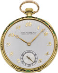 Timepieces:Pocket (post 1900), Patek Philippe Art Deco Enamel & Gold Pocket Watch, circa 1925....