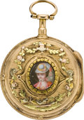 Timepieces:Pocket (pre 1900) , Lepine Paris Multicolor Gold & Enamel Verge Fusee, circa 1800....