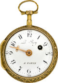 Timepieces:Pocket (pre 1900) , Charles Le Roy Paris Miniature Gold & Enamel Verge Fusee, circa1795. ...