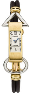 Timepieces:Wristwatch, Cartier Rare Art Deco Gold & Platinum Wristwatch by European Watch & Clock Co., circa 1920's. ...