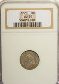 Bust Dimes: , 1820 10C Large 0 AU50 NGC. NGC Census: (7/182). PCGS Population(7/105). Mintage: 942,587. Numismedia Wsl. Price for NGC/PC...