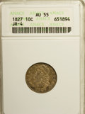 Bust Dimes: , 1827 10C AU55 ANACS. JR-4. NGC Census: (14/182). PCGS Population(12/166). Mintage: 1,300,000. Numismedia Wsl. Price for NG...