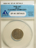 Bust Dimes: , 1829 10C Small 10C--Cleaned, Damaged--ANACS. XF45 Details. JR-2.NGC Census: (6/209). PCGS Population (11/166). Mintage: 7...