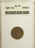 Bust Dimes: , 1829 10C Small 10C AU50 ANACS. NGC Census: (3/206). PCGS Population (10/156). Mintage: 770,000. Numismedia Wsl. Price for N...