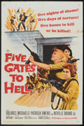 "Movie Posters:War, Five Gates to Hell (20th Century Fox, 1959). One Sheet (27"" X 41"").War.. ..."