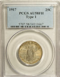 Standing Liberty Quarters: , 1917 25C Type One AU58 Full Head PCGS. PCGS Population (383/4139). NGC Census: (219/3092). Mintage: 8,740,000. Numismedia W...