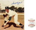 Autographs:Others, Sandy Koufax Single Signed Baseball And Photograph....
