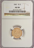 Liberty Quarter Eagles: , 1862 $2 1/2 AU58 NGC. NGC Census: (58/50). PCGS Population (9/24).Mintage: 98,543. Numismedia Wsl. Price for NGC/PCGS coin...