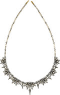 Estate Jewelry:Necklaces, Victorian Diamond, Silver-Topped Gold Necklace. ...