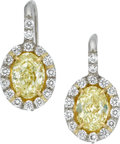 Estate Jewelry:Earrings, Colored Diamond, Diamond, Platinum, Gold Earrings. ... (Total: 2Items)