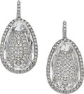 Estate Jewelry:Earrings, Diamond, Rock Crystal Quartz, Platinum Earrings, Vitrine. ...(Total: 2 Items)