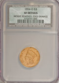 Three Dollar Gold Pieces: , 1854-O $3 --Edge Damaged, Mount Removed--NCS. XF Details. NGC Census: (72/586). PCGS Population (74/290). Mintage: 24,000. N...