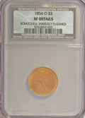 Three Dollar Gold Pieces, 1854-O $3 --Scratched, Harshly Cleaned--NCS. XF Details. NGC Census: (72/584). PCGS Population (74/290). Mintage: 24,000. Nu...
