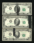 Error Notes:Ink Smears, Fr. 2023-B 1977 $10 Federal Reserve Notes. Two Examples. ChoiceCrisp Uncirculated.. Fr. 2071-A 1974 $20 Federal Reserve Note....(Total: 3 notes)
