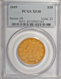 Liberty Eagles: , 1849 $10 XF40 PCGS. PCGS Population (53/226). NGC Census: (61/621).Mintage: 653,618. Numismedia Wsl. Price for NGC/PCGS co...