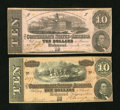 Confederate Notes:Group Lots, Mixed Lot of $10 Confederate Notes. Two Examples.. ... (Total: 2notes)