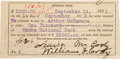 """Autographs:Celebrities, William F. """"Buffalo Bill"""" Cody Document Signed. One interest note,4.25"""" x 2"""", September 14, 1911, North Platte, Nebrask... (Total: 3Items)"""