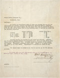 "Autographs:Celebrities, William F. ""Buffalo Bill"" Cody and Gordon W. Lillie Document Signed""W. F. Cody"" and ""G. W. Lillie"". One page, 8.5"" ..."
