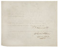 """Autographs:Celebrities, Patrick F. Garrett Typed Document Signed """"P. F. Garrett"""".One page, 8"""" x 6.5"""", July 20, 1896, """"Territory of NewMexico..."""