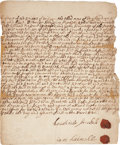 "Autographs:Statesmen, Colonial Kings County Early Land Indenture For Land Sold in""Brookland"" (Brooklyn). One page, June 20, 1695, Kin..."