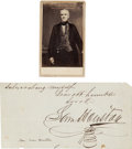 "Autographs:Statesmen, Sam Houston Signature and Carte de Visite. The signature,cut from a larger document, measures 7"" x 3.5"", n.d., ... (Total: 2Items)"