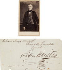Sam Houston Signature And Carte De Visite The Cut From A Larger Document