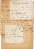 """Autographs:Military Figures, John E. Wool Document Signed """"John E. Wool Capt./ in 13th Regt.Infty US Army"""". One page, 7"""" x 10"""", June 27, 1812, Troy ..."""