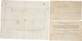 Autographs:Military Figures, [Massachusetts] Group Lot of Three Military Documents, containing partly printed officers oaths signed (dated 1813) and two ... (Total: 3 Items)