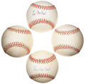 Autographs:Baseballs, Lee MacPhail Signed Baseball Collection Lot Of 4....