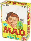 Memorabilia:MAD, Fleer Goes Mad Stickers and Bubble Gum Box Complete (Fleer,1983)....