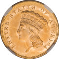 Three Dollar Gold Pieces, 1857 $3 MS64 NGC....
