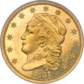 Proof Early Quarter Eagles, 1831 $2 1/2 PR63 NGC....