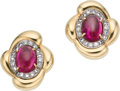 Estate Jewelry:Earrings, Rubellite Tourmaline, Diamond, Platinum, Gold Earrings. ... (Total:2 Items)