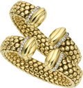 Estate Jewelry:Bracelets, Pair of Diamond, Gold Bracelets. ...