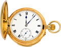 Timepieces:Pocket (pre 1900) , Swiss 18K Gold Minute Repeater, circa 1890. ...