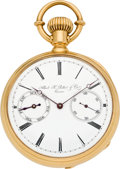Timepieces:Pocket (pre 1900) , Albert H. Potter & Co. Geneva Rare and Important Gold Watch with Day Indicator No. 683, circa 1890. ...