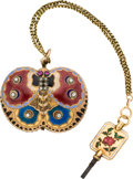 Timepieces:Pocket (pre 1900) , Swiss Rare Miniature Verge Fusee, Gold & Enamel Butterfly Form Case, circa 1780. ...