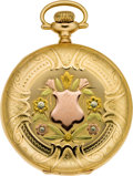 Timepieces:Pocket (post 1900), Elgin Multicolor Gold Hunters Case Pocket Watch, circa 1914. ...