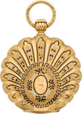 Timepieces:Pocket (pre 1900) , Augustin Perrenoud Gold & Enamel Scalloped Edge Pocket Watch,circa 1865. ...