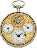 Timepieces:Pocket (pre 1900) , Bordier Geneve Multi-Dial Calendar Verge with Exposed Balance, circa 1790. ...