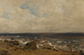 Fine Art - Painting, Russian, ISAAK LEVITAN (Russian, 1860-1900). Sea Beach. Oil on board. 5-1/2 x 8-1/4 inches (14.0 x 21.0 cm). Signed lower left in...
