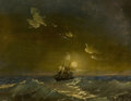Fine Art - Painting, Russian, IVAN KONSTANTINOVICH AIVAZOVSKY (Russian, 1817-1900). SailingShip at Sea. Oil on board. 7-1/2 x 9-3/4 inches (19.1 x 24...