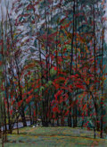 Fine Art - Painting, Russian, NIKOLAI EFIMOVICH TIMKOV (Russian, 1912-1993). Ash Grove, 1985. Oil on cardboard. 27-1/4 x 20 inches (69.2 x 50.8 cm). S...