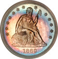 Proof Seated Quarters, 1869 25C PR66 NGC. CAC....