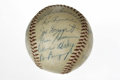 Autographs:Baseballs, 1957 Philadelphia Phillies Team Signed Baseball. Twenty-one membersof the '57 Phillies appear on the ONL (Giles) ball that...