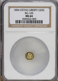 California Fractional Gold: , 1854 25C Liberty Octagonal 25 Cents, BG-105, R.3, MS64 NGC. NGCCensus: (9/6). PCGS Population (62/24). (#10374)...